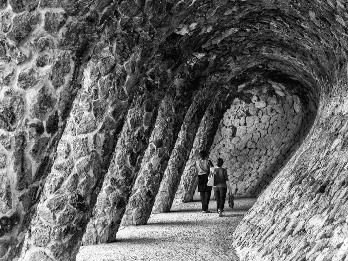 black and white architecture photo in Park Guel Barcelona Spain