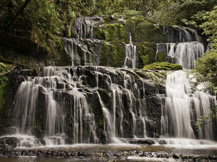 landscape photo, New Zelan waterfall, fall, river, The Purakaunui Falls are a cascading multi-tiered waterfall on the Purakaunui River, located in the Catlins in the southern South Island of New Zealand