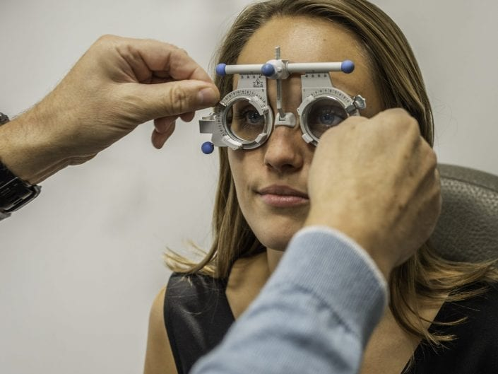 testing eyes at the optician