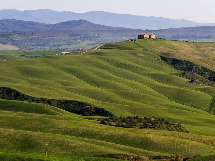 tuscany, italy, landscape photo, hills green pastures, farm