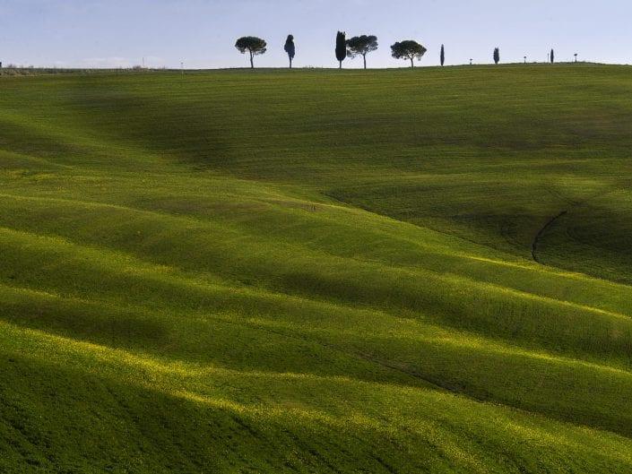 tuscany, italy, landscape photo, hills green pastures, farm, trees