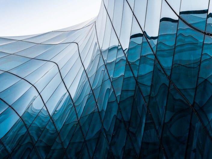 Malmö Sweden, bleu glass, architecture photo, facade, shopping mall