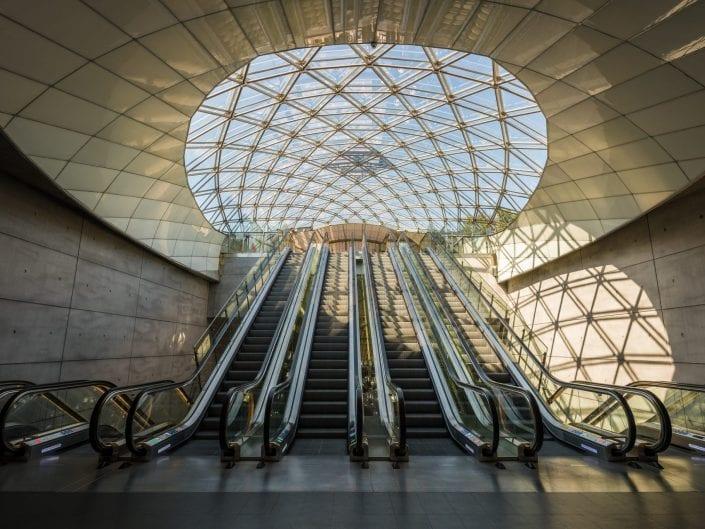 architecture photography escalators entrance, Malmö, Sweden, metro, subway