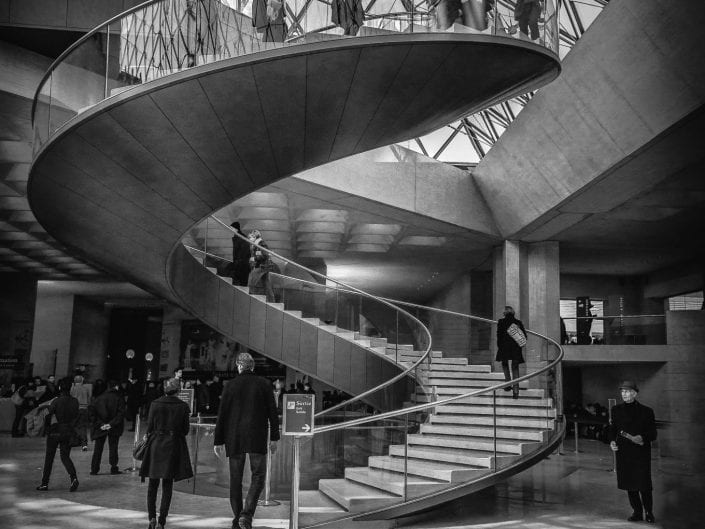 Paris, Louvre museum, architecture, entrance, stairs, black and white