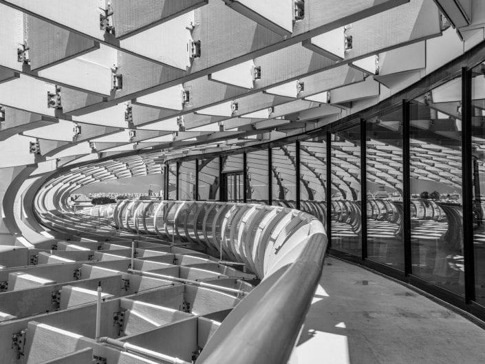 Sevilla Spain mushroom architecture photo, metropol parasol, curves, black and white
