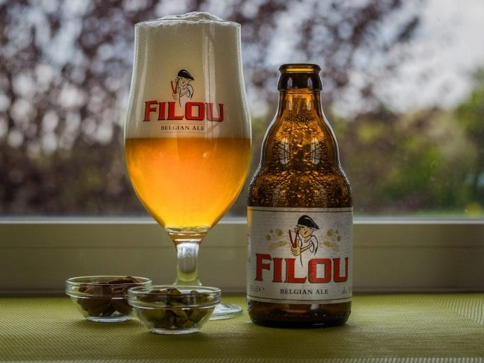 photo of beer glass and bottle Filou, product photography