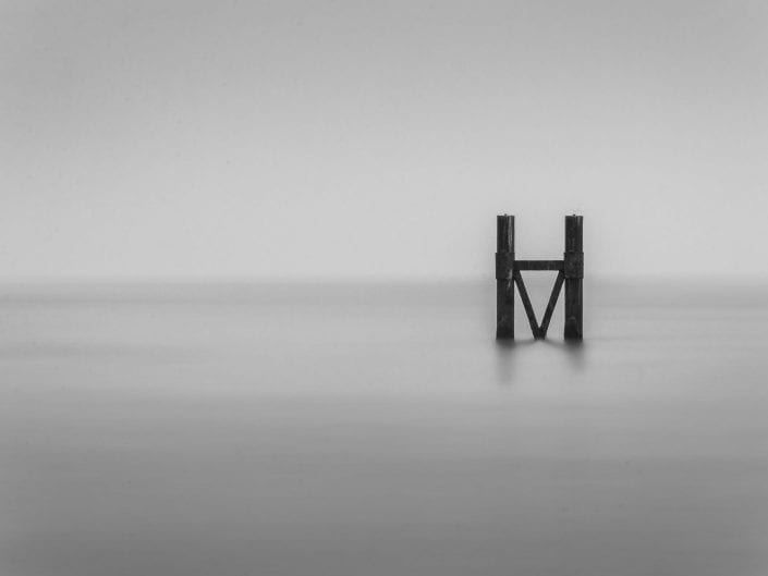 minimalist photo waterscape Westkapelle Netherlands, seascape, sea, black and white
