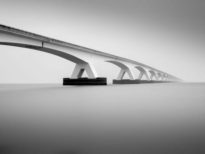 minimalist waterscape of Zeeland bridge Netherlands