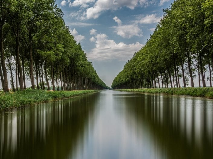perspective photo, reflection of canal near Damme Belgium