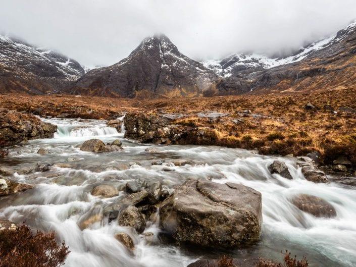 landscape waterscape scotland fairy pools river Brittle rocks mountains cloiuds mist
