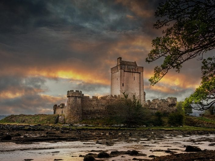Doe castle creeslough Ireland castle evening sky