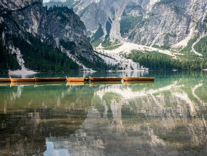 Dolomites lago di braies boats