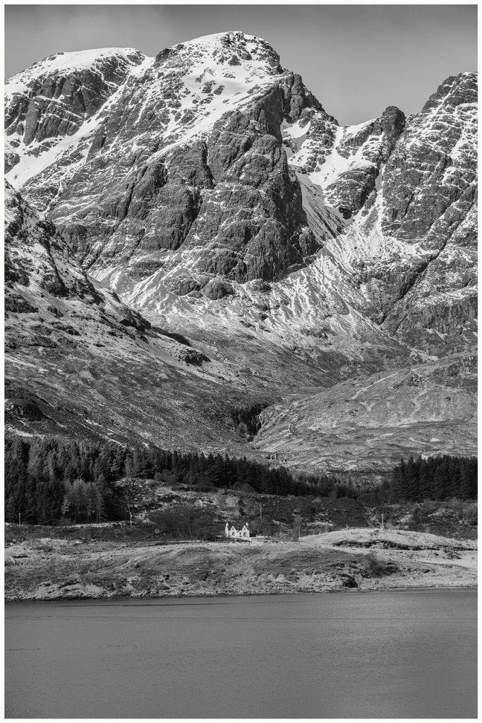 isle of skye black and white photo