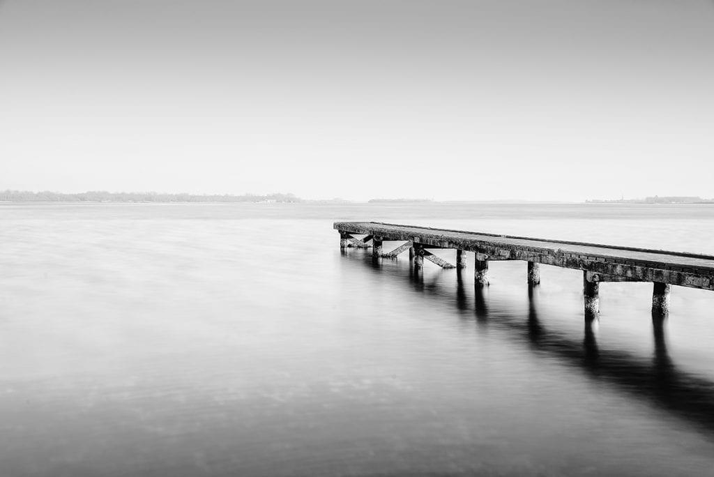 Zeeland jetty Veerse meer , black-white