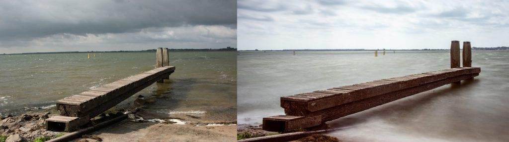 Normal exposure versus long exposure with filter