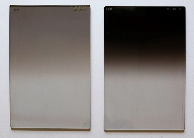 Graduated ND filter soft edge (LEE) left: 3 ND, right: 9 ND