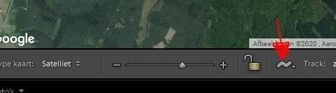 Terrain button down in the map's module of Lightroom