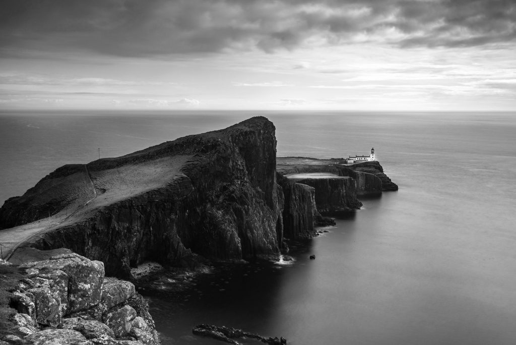 black and white long exposure 20 seconds, Neist Point,Isle of Sky, Scotland